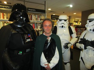 Me, dressed as a hobbit, with Darth Vader and a Stormtrooper!